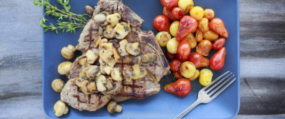 T-Bone Steak with Mushrooms