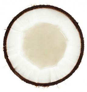 kokosnød halveret
