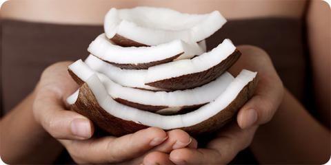 kokosnød i stykker