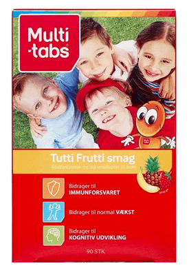 Multi-tabs ttb tutti frutti – multivitamin til børn med smag